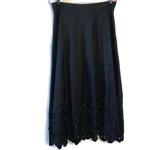 Talbots Black Silk w/ Floral Lace Trim Full Skirt